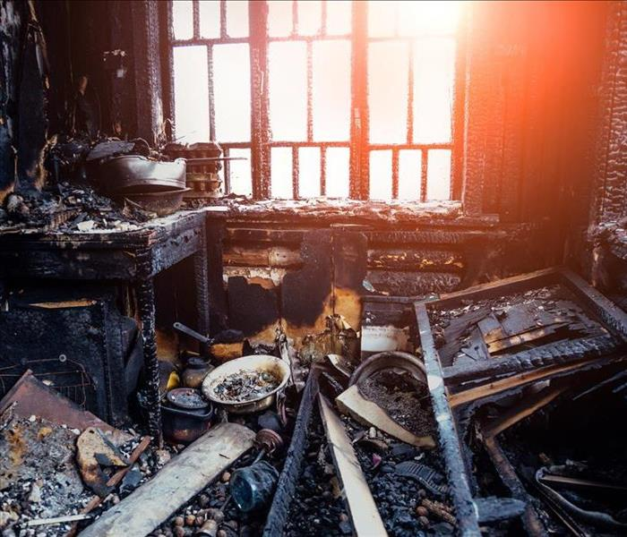 charred interior of house