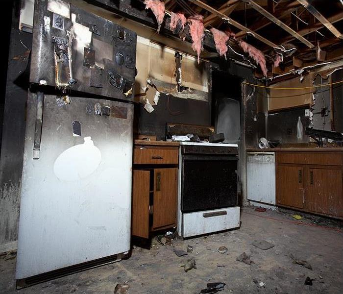 kitchen suffering smoke and fire damage
