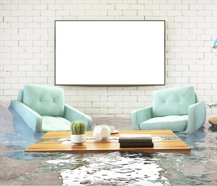 flooded living room with couch